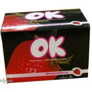 Bao Cao Su OK: Bao cao su ok hộp lớn mùi dâu