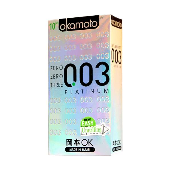 Bao cao su siêu mỏng Okamoto Platinum 0.03 (10 cái)