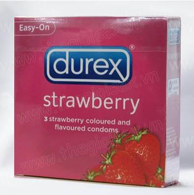 Bao cao su Durex strawberry - Mùi Dâu